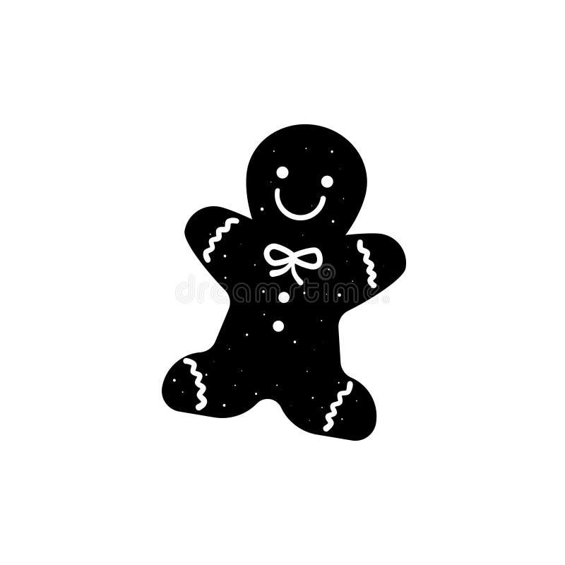Symbol för kontur för kaka för pepparkakaman royaltyfri illustrationer