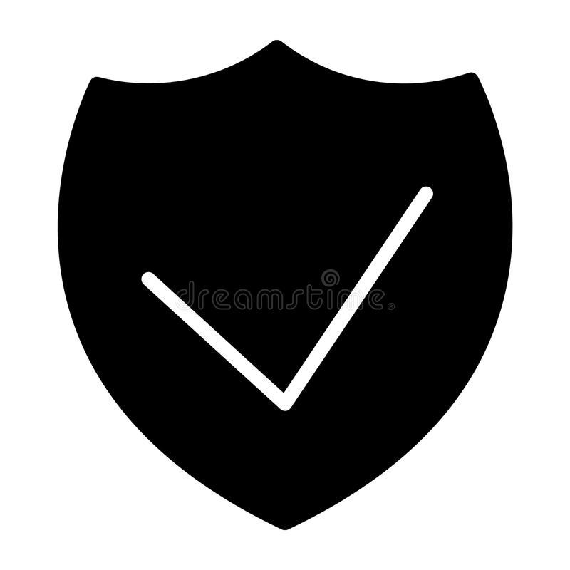 Symbol 48x48 för kontur för vektor för säkerhetssköldPIXEL perfekt Enkel minsta Pictogram stock illustrationer