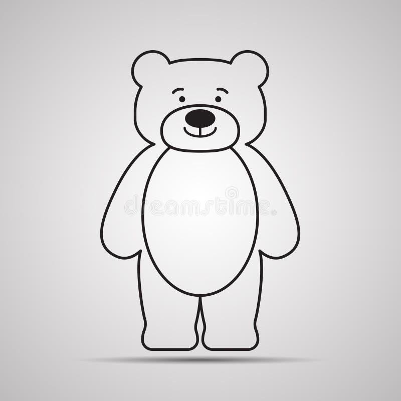 Symbol för konturbjörnlägenhet, enkel vektordesign med skugga Lycklig nalle-björn för tecknad film vektor illustrationer