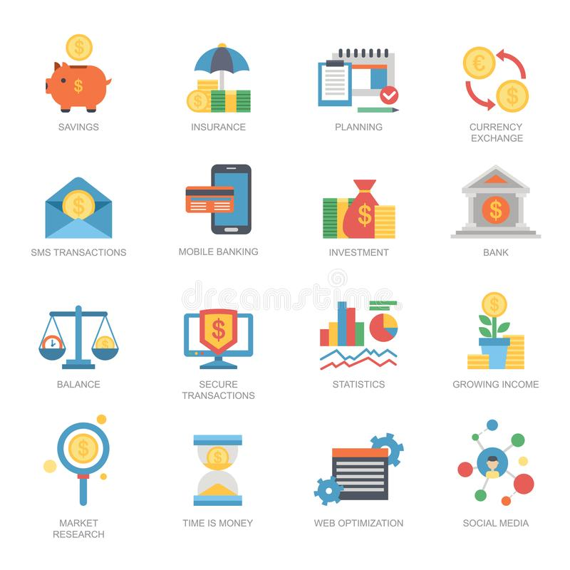 Symbol för kort för utbyte för investmentbank för finans för valuta för graf för pengar för stil för lägenhet för uppsättning för vektor illustrationer