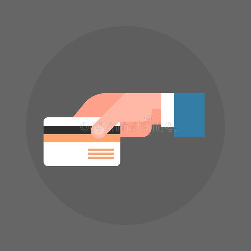 Symbol för kreditkort för hand för affärsman hållande vektor illustrationer