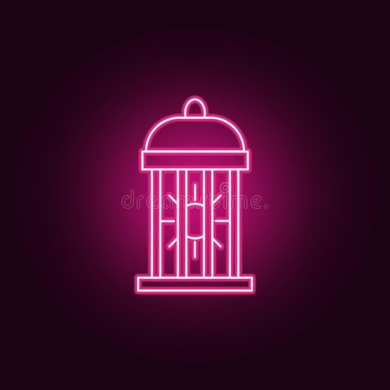 symbol för krypmördarelampa Beståndsdelar av det plågakontroll och krypet i neonstilsymboler Enkel symbol för websites, rengöring royaltyfri illustrationer