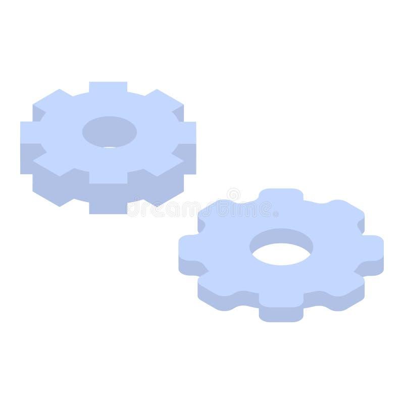 Symbol för kuggehjuluppsättning, isometrisk stil stock illustrationer