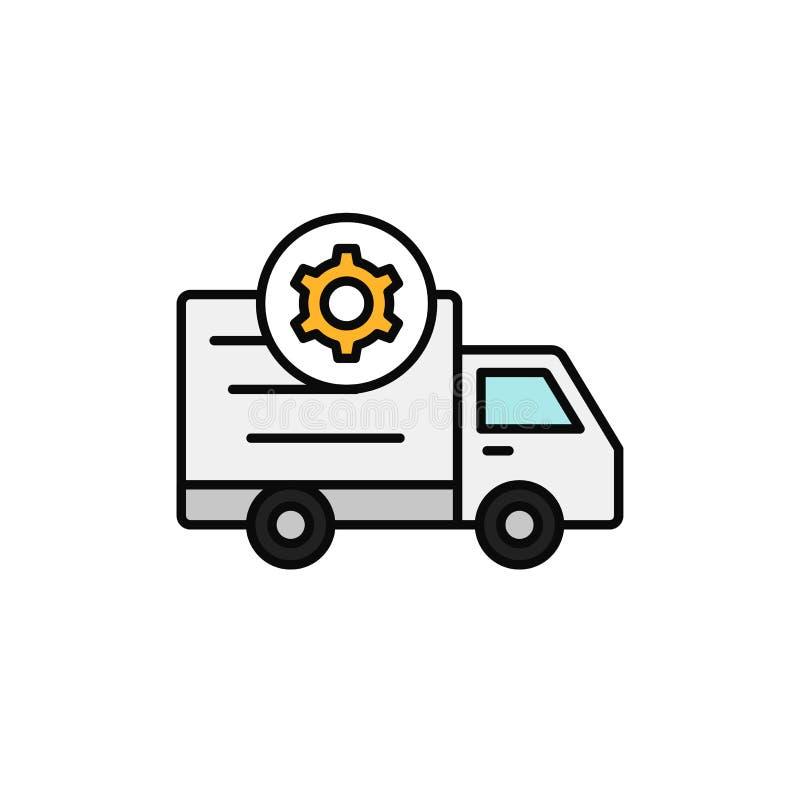 Symbol för kugghjul för leveranslastbil sändningsinställning eller illustration för maskinbilproblem enkel design för översiktsve royaltyfri illustrationer