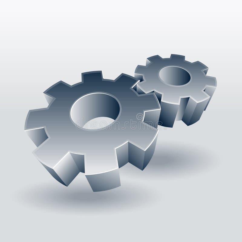 Symbol för kugghjulhjul stock illustrationer