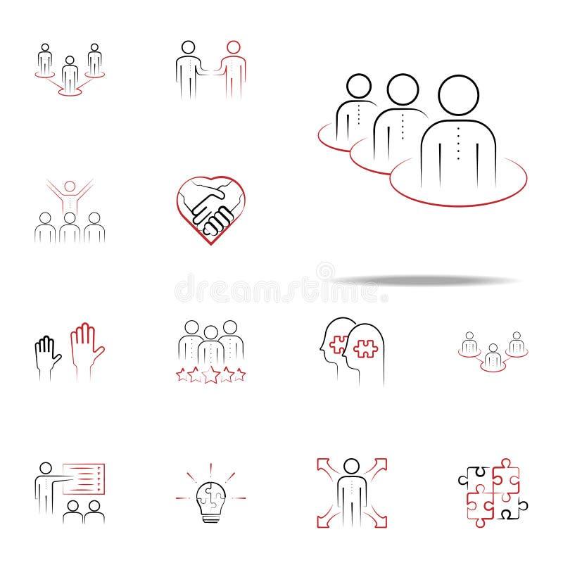symbol för kulör hand för hierarki utdragen Universell uppsättning för lagsymboler för rengöringsduk och mobil vektor illustrationer