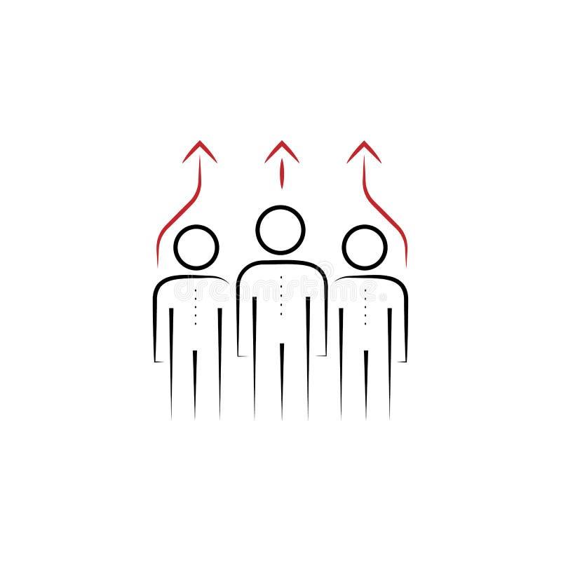 symbol för kulör hand för lag 2 utdragen Kulör beståndsdelillustration för lag Översiktssymboldesign från lagarbetsuppsättning stock illustrationer