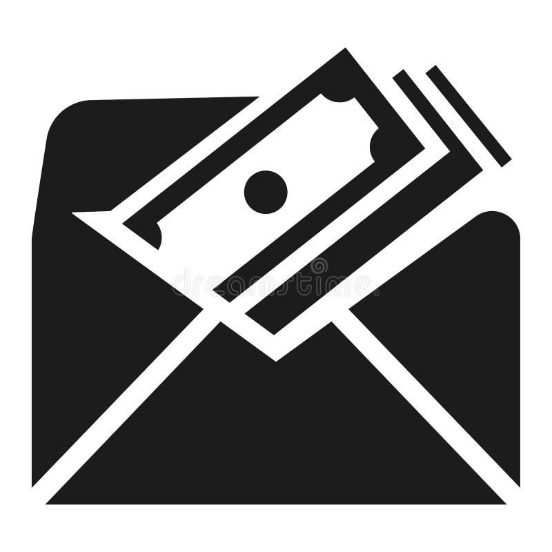 Symbol för kuvertbestickningpengar, enkel stil stock illustrationer