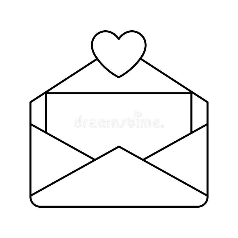 Symbol för kuvertbokstavsförälskelse royaltyfri illustrationer