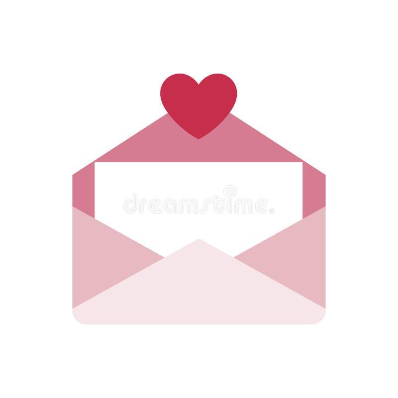 Symbol för kuvertbokstavsförälskelse stock illustrationer