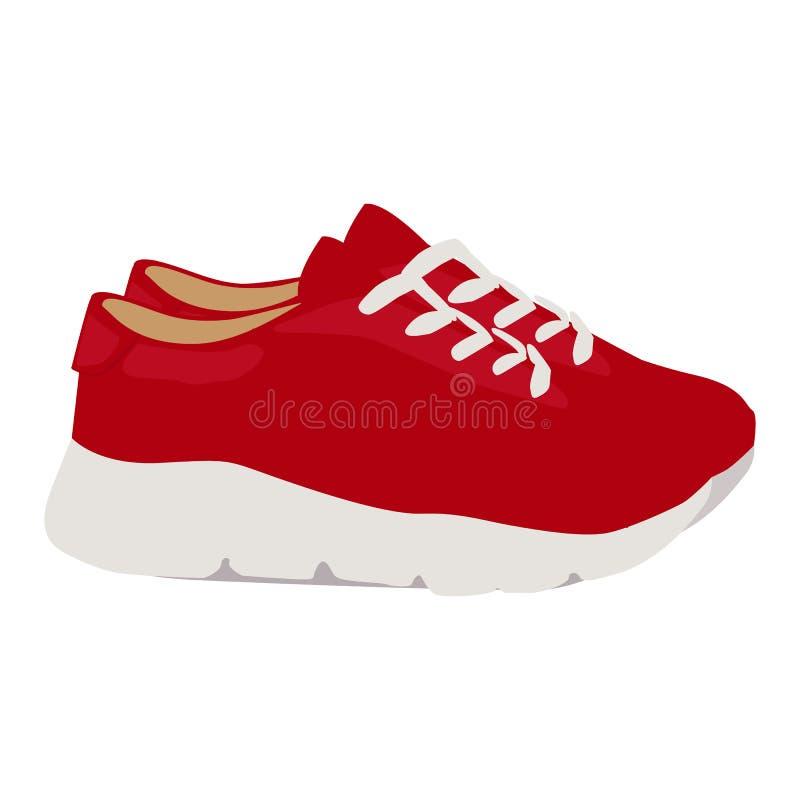 Symbol för kvinnagymnastikskovektor på en vit bakgrund Röd illustration för rinnande skor som isoleras på vit Sportskodon stock illustrationer