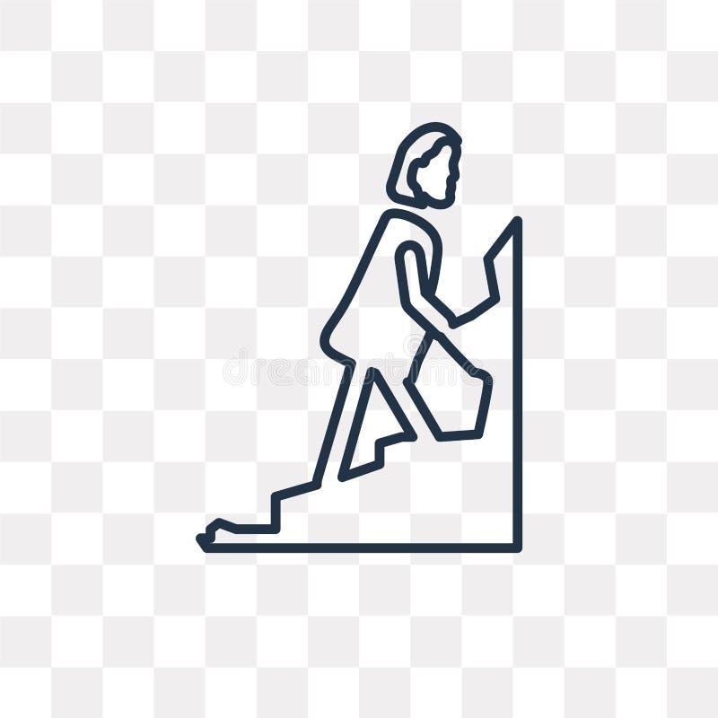 Symbol för kvinnaklättringvektor som isoleras på genomskinlig bakgrund, l stock illustrationer