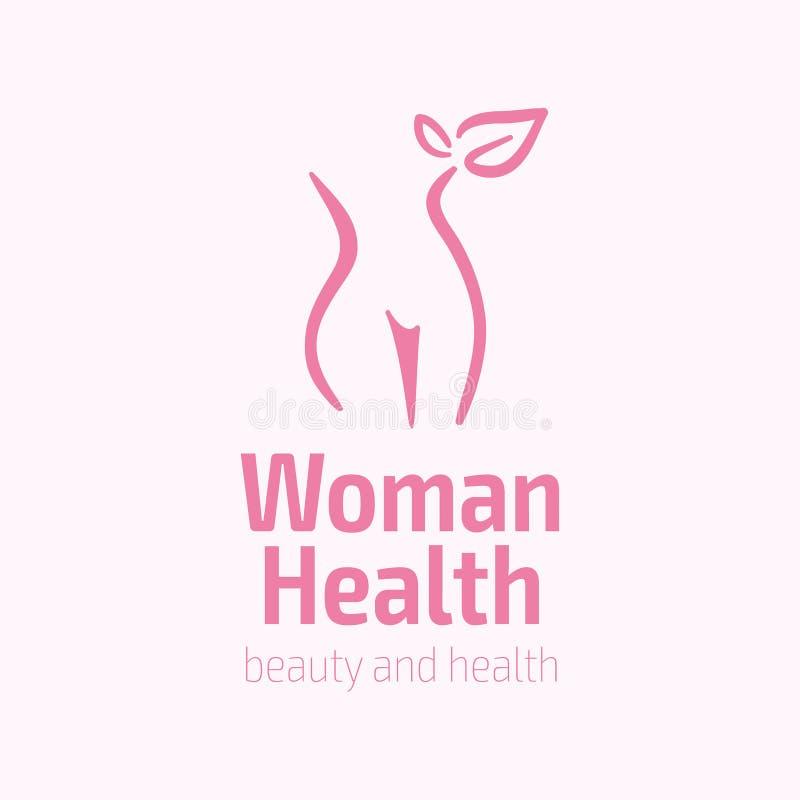 Symbol för kvinnakonditionlogo Sportar hälsa, brunnsort, yoga, skönhetvektorlogo Kvinnakonturlogo Banta logoen Spa salonglogo stock illustrationer