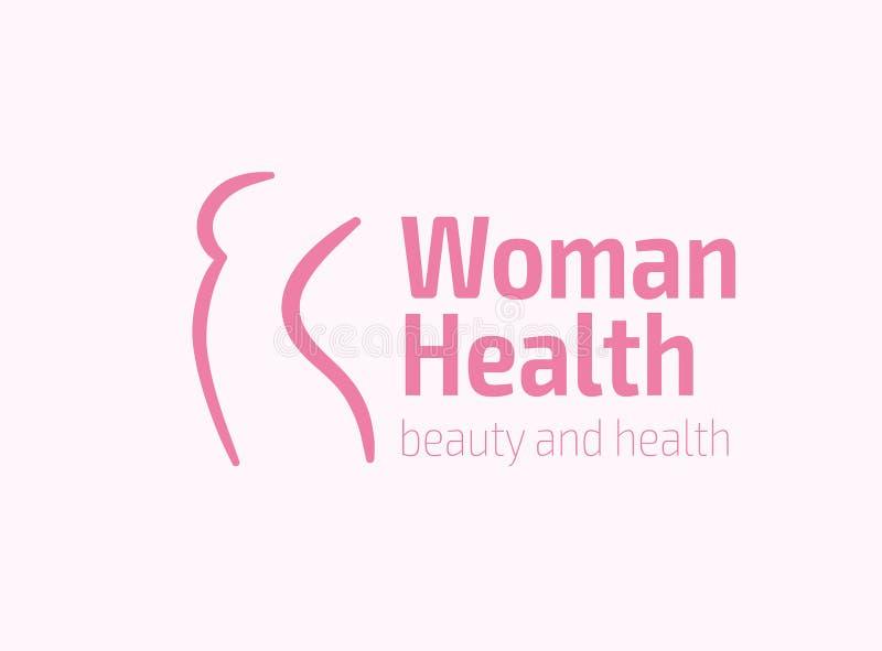 Symbol för kvinnakonditionlogo Sportar hälsa, brunnsort, yoga, skönhetvektorlogo Kvinnakonturlogo Banta logoen Spa salonglogo vektor illustrationer