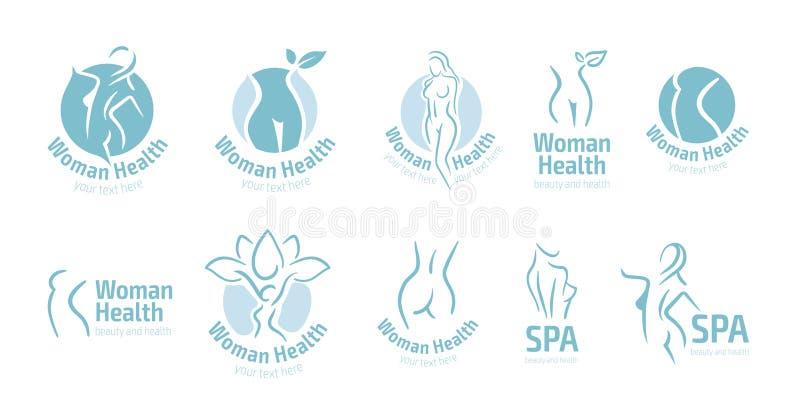 Symbol för kvinnakonditionlogo Sportar hälsa, brunnsort, yoga, skönhetvektorlogo Kvinnakonturlogo Banta logoen Spa salonglogo royaltyfri illustrationer
