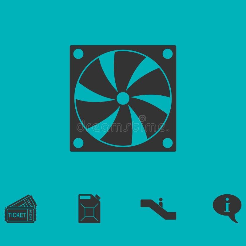 Symbol för kyla fan för dator framlänges stock illustrationer