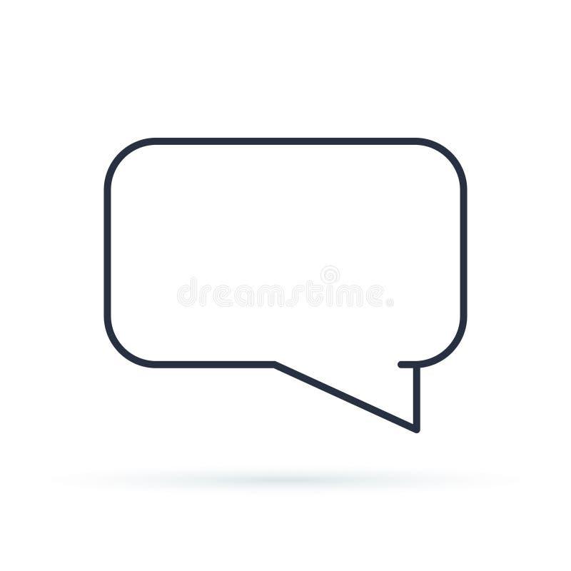 Symbol för lägenhet för anförandebubblasymbol Enkelt högkvalitativt översiktssymbol av information för rengöringsdukdesignen elle royaltyfri illustrationer