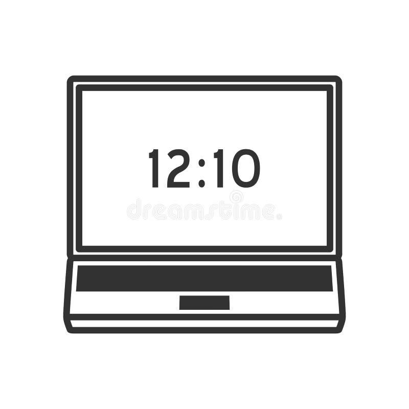 Symbol för lägenhet för bärbar datoranteckningsboköversikt på vit stock illustrationer