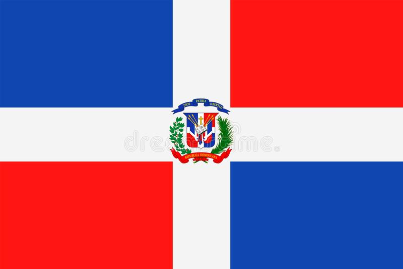 Symbol för lägenhet för Dominikanska republikenflaggavektor vektor illustrationer