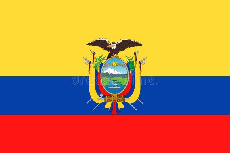 Symbol för lägenhet för Ecuador flaggavektor royaltyfri illustrationer