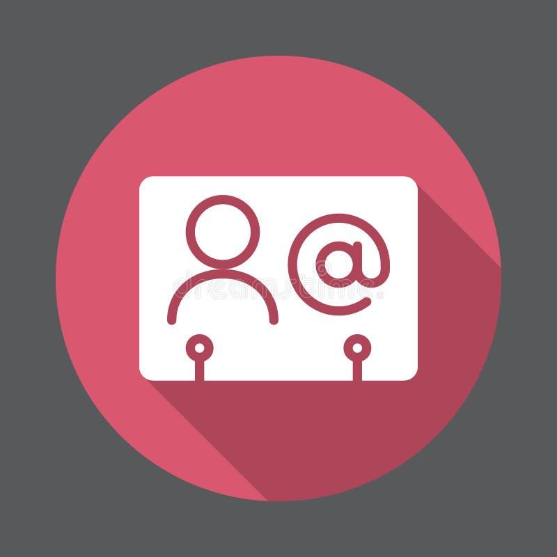 Symbol för lägenhet för affärskontakt Rund färgrik knapp, runt vektortecken med lång skuggaeffekt stock illustrationer