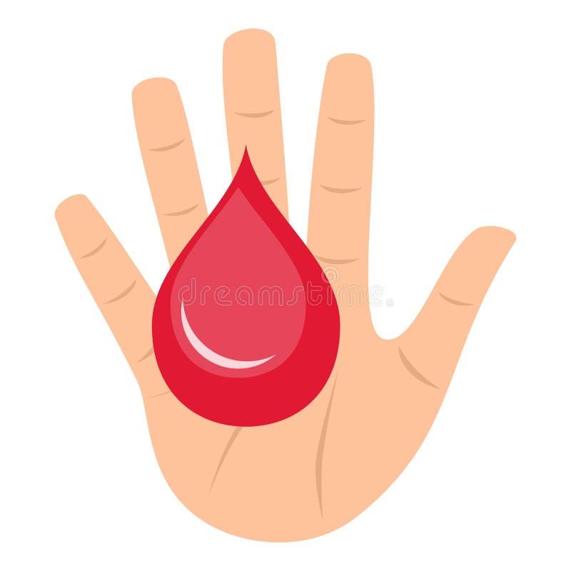 Symbol för lägenhet för begrepp för bloddonation på vit royaltyfri illustrationer