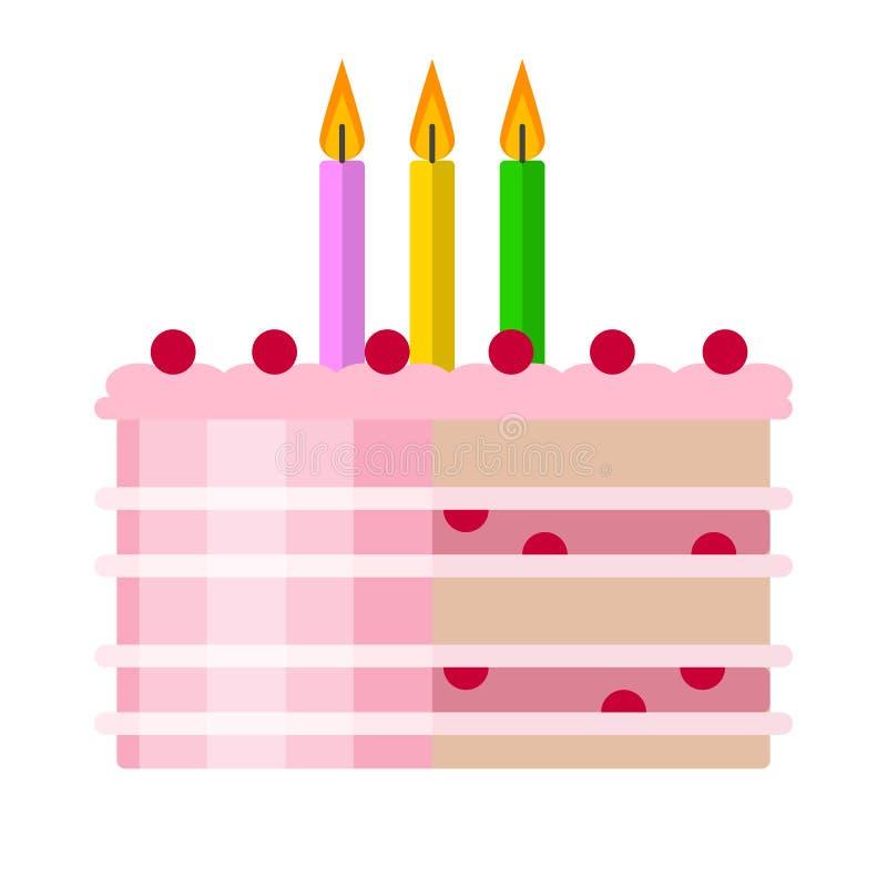 Symbol för lägenhet för födelsedagkaka, vektortecken vektor illustrationer