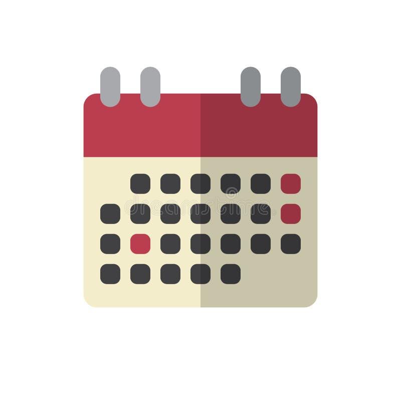 Symbol för lägenhet för kalenderhändelsepåminnelse, fyllt vektortecken, färgrik pictogram som isoleras på vit vektor illustrationer