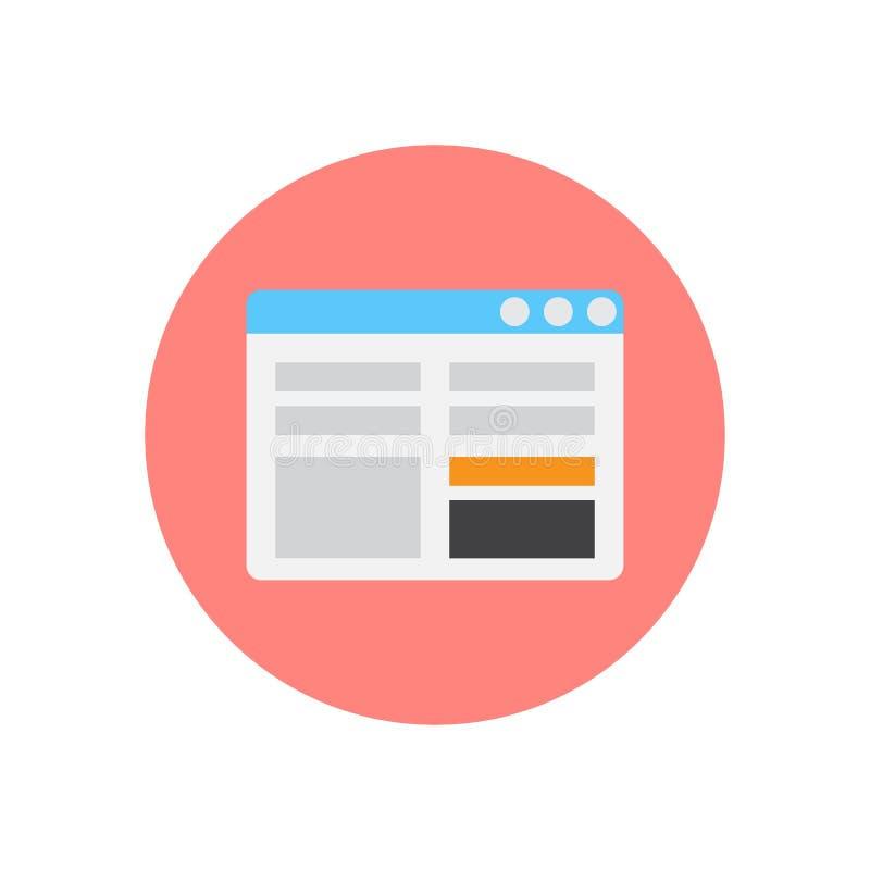 Symbol för lägenhet för kontaktformsida Rund färgrik knapp, runt vektortecken, logoillustration vektor illustrationer