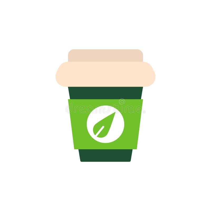 Symbol för lägenhet för pappers- kopp för grönt te, vektortecken, färgrik pictogram som isoleras på vit vektor illustrationer