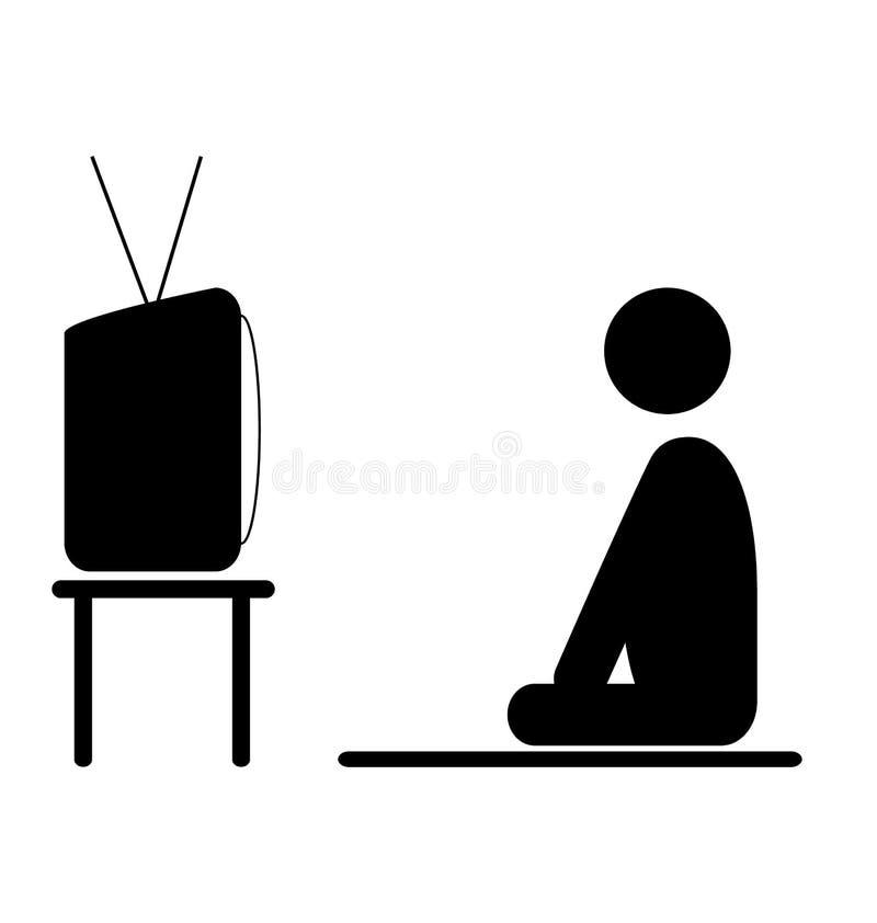 Symbol för lägenhet för pictogram för man för klockaTVprogram på vit stock illustrationer