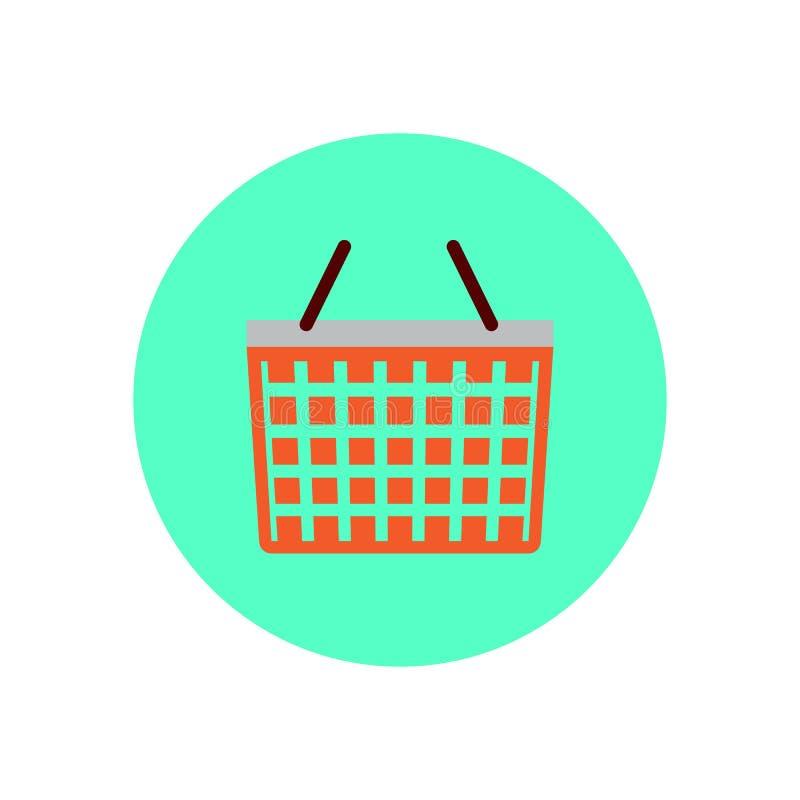 Symbol för lägenhet för shoppingkorg Rund färgrik knapp, runt vektortecken, logoillustration royaltyfri illustrationer