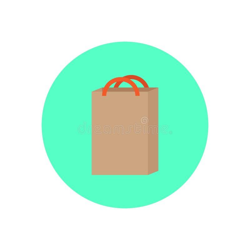 Symbol för lägenhet för shoppingpåse Rund färgrik knapp, runt vektortecken, logoillustration royaltyfri illustrationer