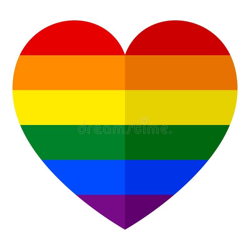Symbol för lägenhet för LGBT-regnbågehjärta på vit royaltyfri illustrationer