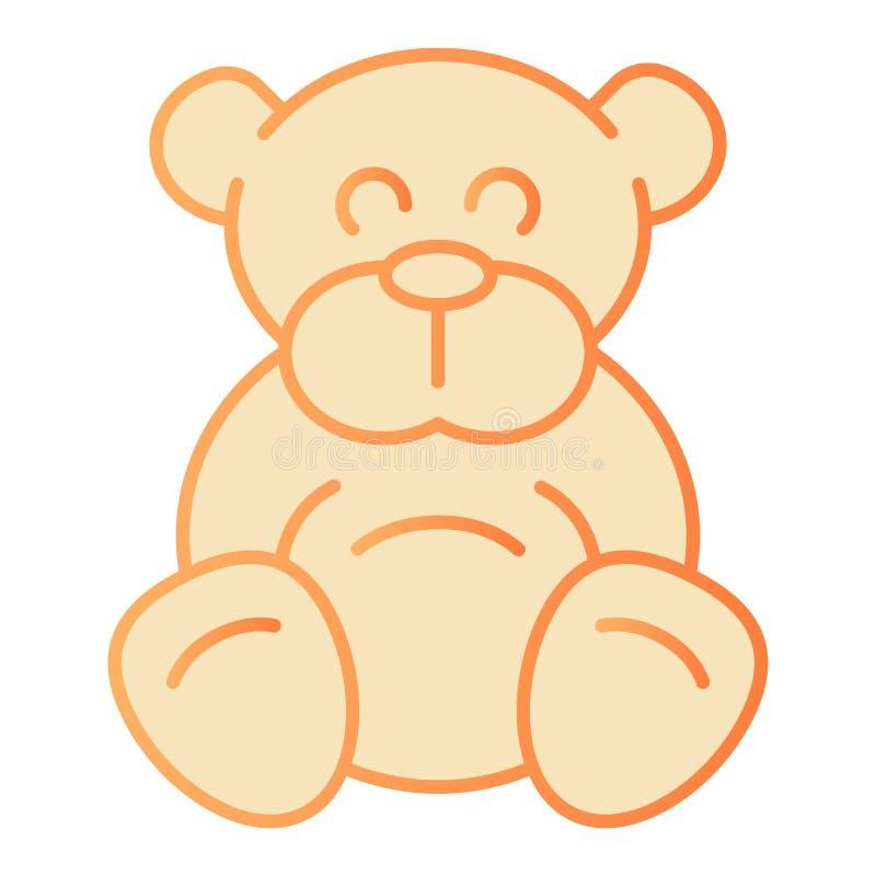Symbol för lägenhet för nallebjörn Orange symboler för flott leksak i moderiktig plan stil Design för Ted lutningstil som planläg stock illustrationer