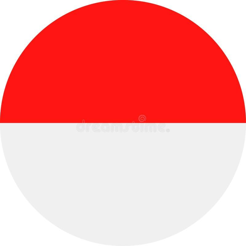 Symbol för lägenhet för runda för Monaco flaggavektor stock illustrationer