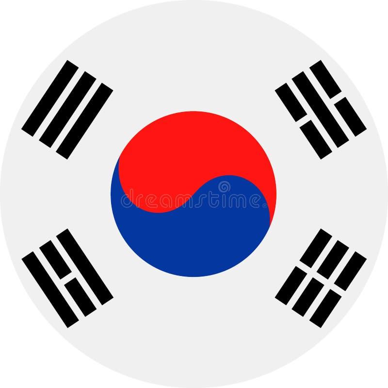Symbol för lägenhet för runda för Sydkorea flaggavektor royaltyfri illustrationer
