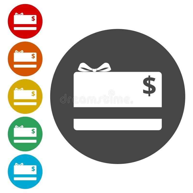 Symbol för lägenhet för shoppinggåvakort stock illustrationer