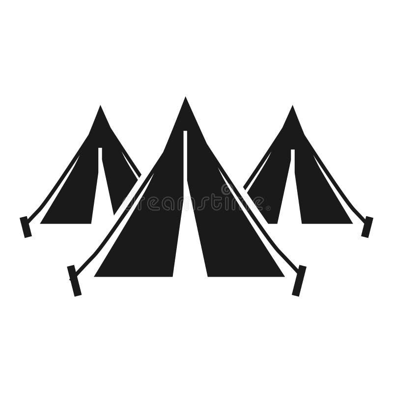 Symbol för läger för flyktingfolktält, enkel stil stock illustrationer