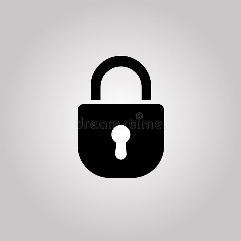 Symbol för låstangent på en grå bakgrund vektor stock illustrationer