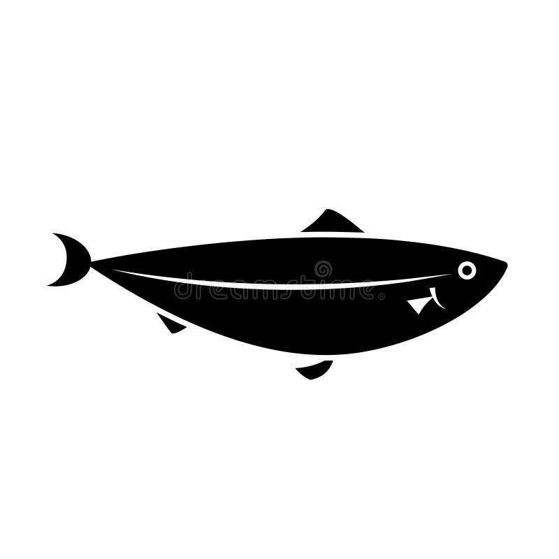Symbol för laxfiskkontur stock illustrationer