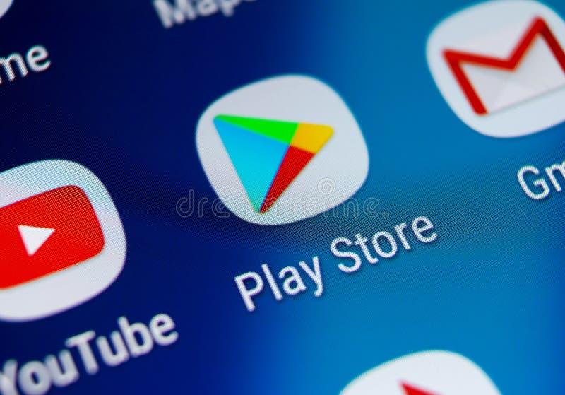 Symbol för leklagerapplikation på närbild för skärm för smartphone för Samsung galax S9 Mobil applikationsymbol av leklagret bild royaltyfria foton