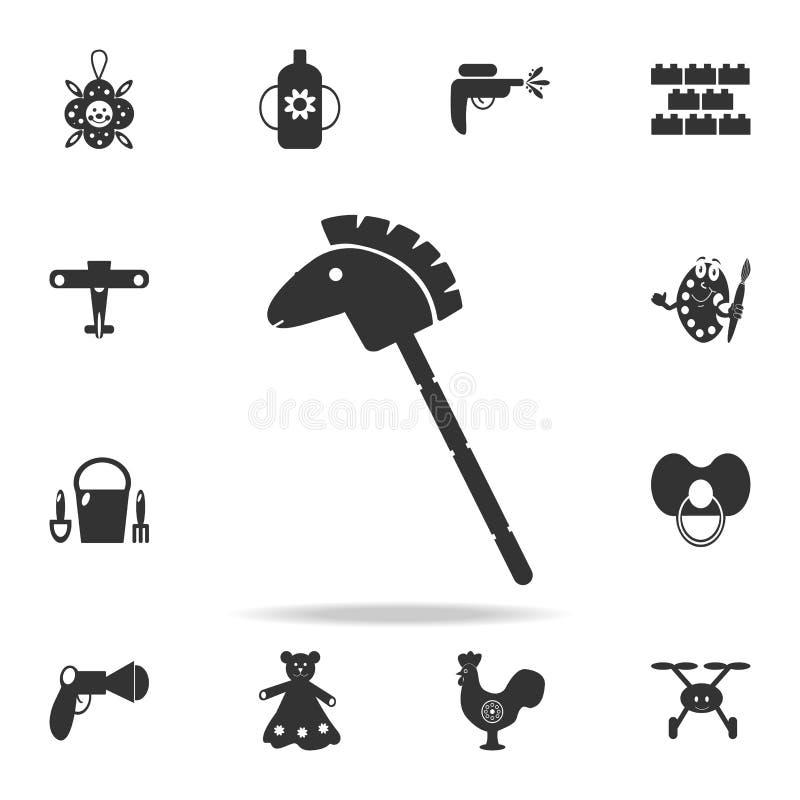 Symbol för leksak för hästpinnekontur Den detaljerade uppsättningen av behandla som ett barn leksaksymboler Högvärdig kvalitets-  vektor illustrationer