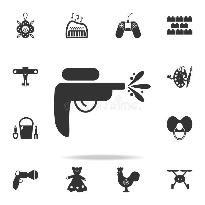 Symbol för leksak för vattenvapen Den detaljerade uppsättningen av behandla som ett barn leksaksymboler Högvärdig kvalitets- graf vektor illustrationer