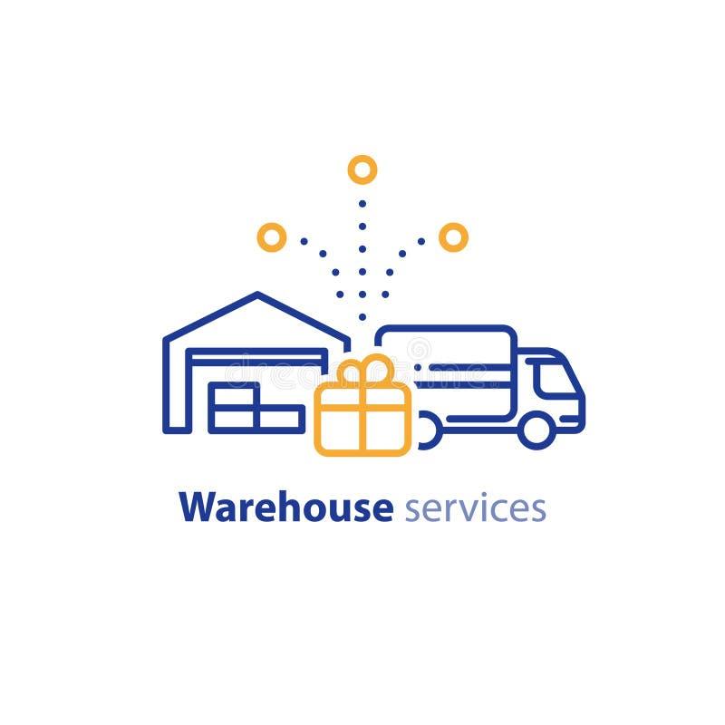 Symbol för leveranslastbil, beställningssändnings, service för fördelningslager, förflyttningsbegrepp stock illustrationer