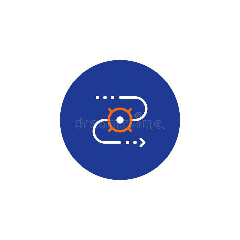 Symbol för leveransspårningsystem, beställningssändnings, fördelningsservice, förflyttningsbegrepp vektor illustrationer