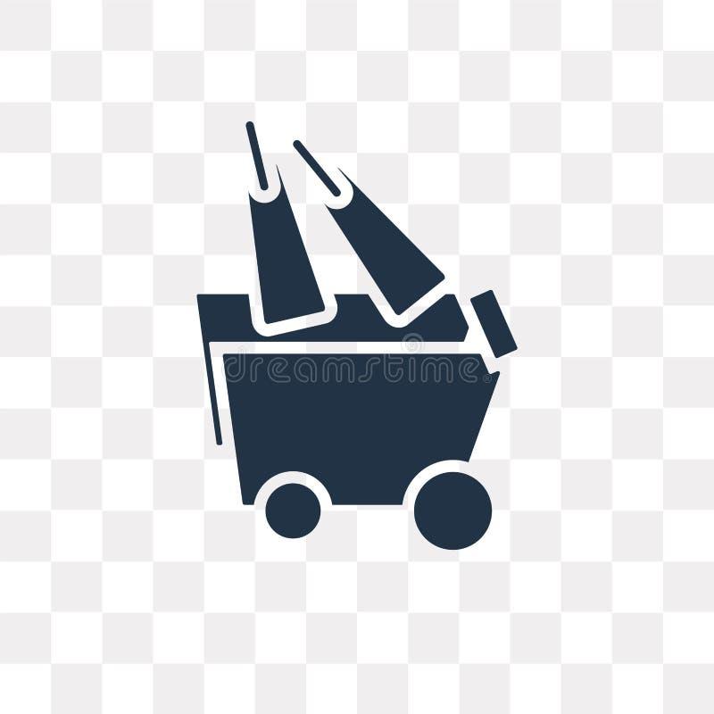 Symbol för leveransvagnsvektor som isoleras på genomskinlig bakgrund, De royaltyfri illustrationer
