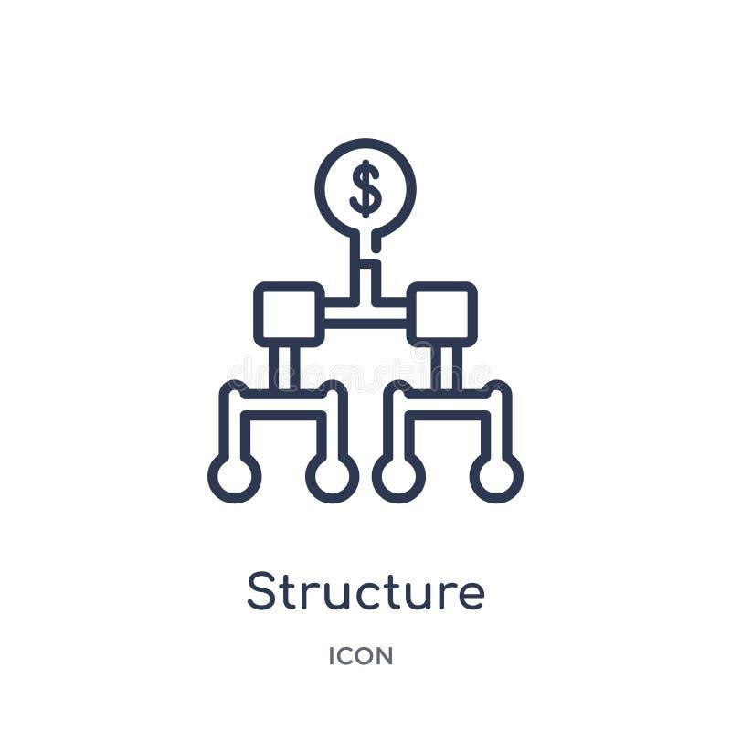 Symbol för linjär struktur från affärsöversiktssamling Tunn linje struktursymbol som isoleras på vit bakgrund moderiktig struktur vektor illustrationer