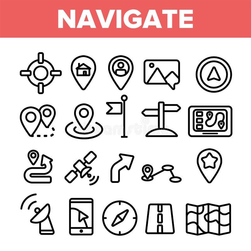 Symbol för linjära symboler för vektor för navigering fastställt tunna stock illustrationer