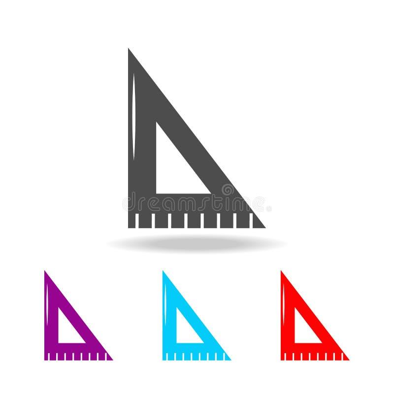 Symbol för linjalteckningshjälpmedel Beståndsdelar av utbildning i mång- kulöra symboler Högvärdig kvalitets- symbol för grafisk  royaltyfri illustrationer